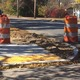 These barrels along Route 38 mark where work is being done on one of 112 handicapped sidewalk ramps.