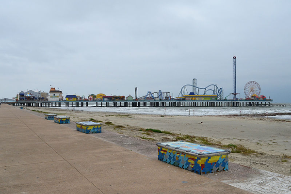 Seawall Benches and Pleasure Pier. Photo courtesy of Patrick Feller