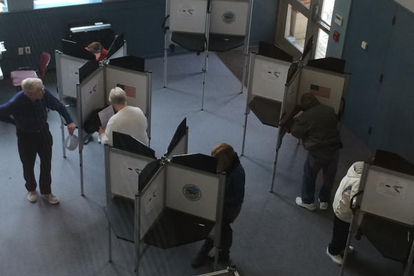 Voters cast their ballots at the Tewksbury Library.