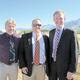 City Councilmember Bill Rappleye, Mayor Troy Walker and Salt Lake County Mayor Ben McAdams celebrate the Wheadon Farm Park groundbreaking.