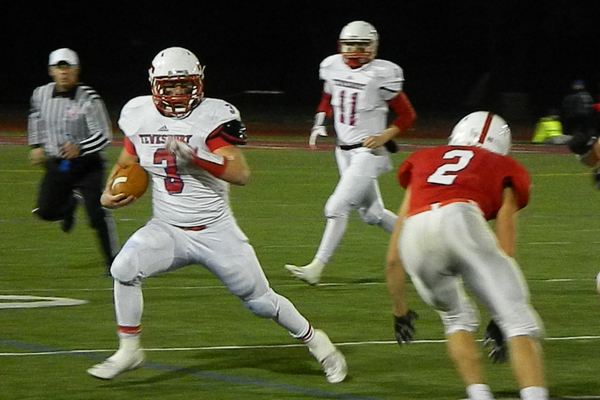 James Sullivan (3) scored on a spectacular touchdown run, but Tewksbury lost to Melrose, 14-7
