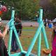 Ashley Raymond and Alexa Vitale testing the catapult