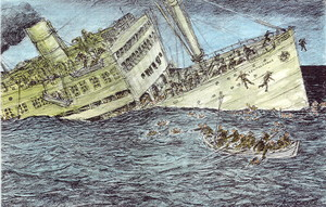The Belgian troopship that carried more than 2000 was torpedoed by a German submarine on Dec 24 1944