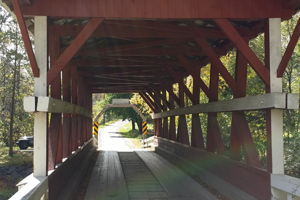 A covered bridge is a quick detour off the Lincoln Highway.