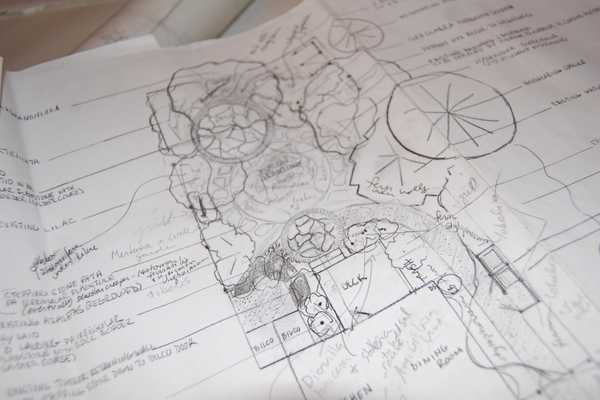 Morgan creates all master plans for the gardens she designs by hand.