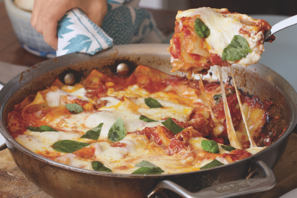 Photo by Christopher Testani		Skillet lasagna can be prepared in one saute pan.