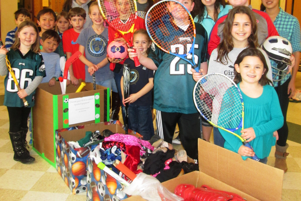 Families at Pocopson Elementary School donated sports equipment.