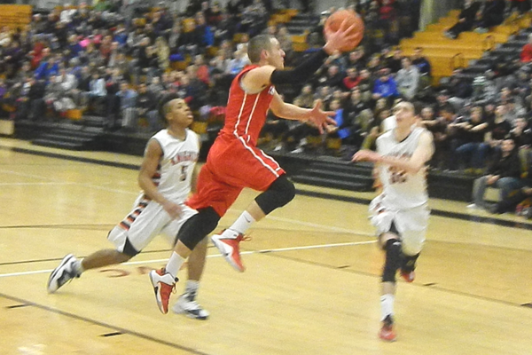 Alex DiRocco (3) led Tewksbury with 22 points against Haverhill.