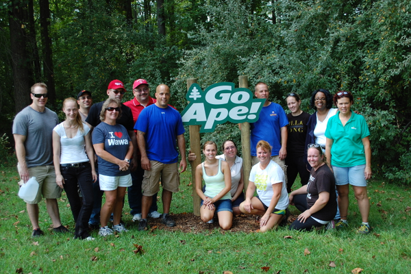 The Go Ape Treetop Adventure Course at Lums Pond is often used by businesses for team building outings.