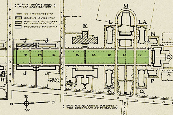 Courtesy of the University of Delaware An architectural rendition of the North Campus at the University of Delaware, circa 1917.