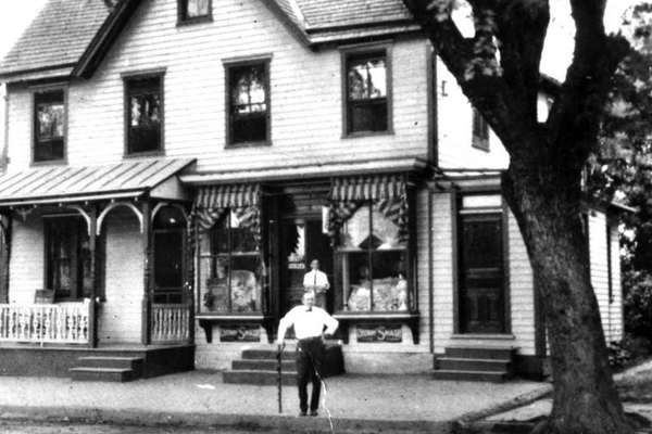 The first location of the Rhodes Drug Store, at 168 E. Main St.