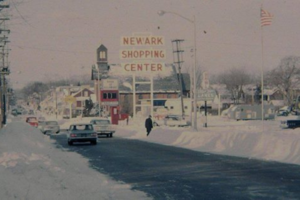 A vintage view of Main Street during the winter.