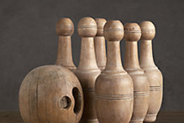 1920s French bowling pins, $299, Restoration Hardware