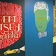 """Among the scenic backdrops created by Painting and Design Technologies students were several giant-sized renditions of """"The Great Gatsby"""" covers. Some covers were taken from actual editions of the novel, while others were original creations of BVT students."""