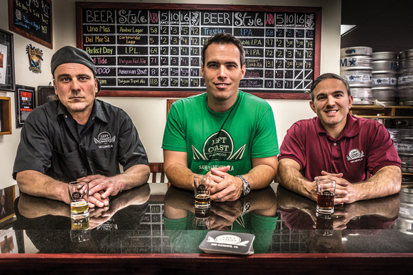 (l to r) Randal Dilibero, Master Brewer; Shawn Hadjis, Director of Sales; Tommy Hadjis, General Manager