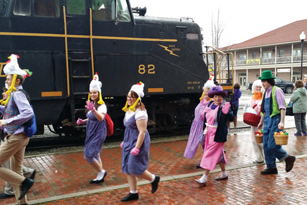 The Easter Bunny's helpers get ready to board The New Tygart Flyer for a special Cottontail Express ride.