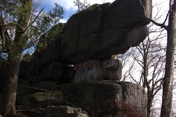 Box Car Rocks, a sought-after landmark for hikers just north of Stony Valley, looms in the distance.