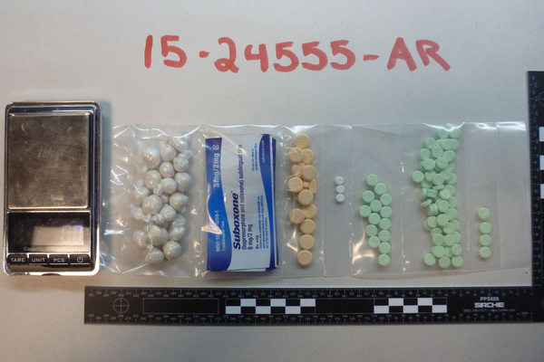 Drugs seized in a raid at 213 Cabot Road, Tewksbury.