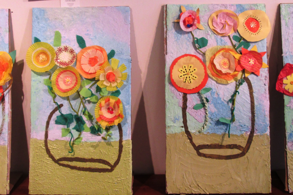 Variations on Van Gogh's 'Sunflowers,' by students at Sacred Heart School.