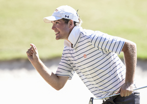 Matt Gilchrest after putt in Collegiate final round Oct 2014 Photo courtesy of Auburn Athletics