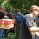 Members of ABATE load boxes of food into the Oxford Neighborhood Services Center
