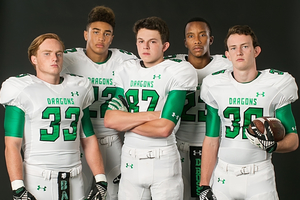 IV Seacat Robert Barnes Jake Oldroyd Obi Eboh and Grant McFarlin stand guard of the Dragon end zone Photo by Bludoor Studios