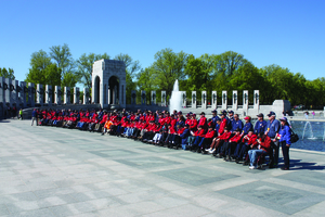 Honor Flight 6 participants at the World War II Memorial in Washington DC in April Photo by Bud Elliott