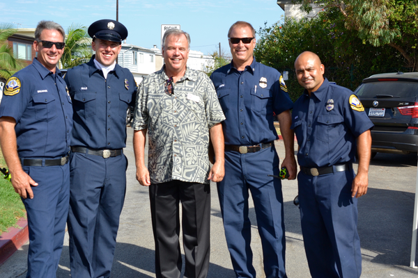 Mayor Mark Burton with members of the police force
