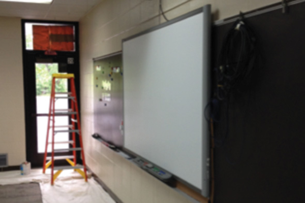 A Mark DeLay School classroom gets new paint.