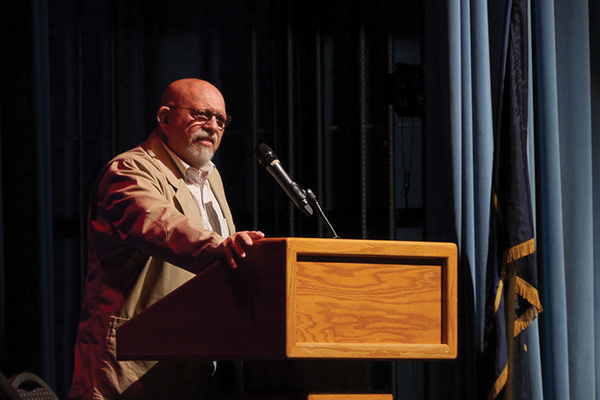 Honoree Mikel Vause spoke to the crowd in September at Ben Lomond High School's Wall of Fame ceremony