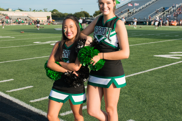 2015 Dragon Cheer Co-Captains Caitlyn Gardiner and Chloe Dwyer. Photo by S. Johnson SnappedDragons.com