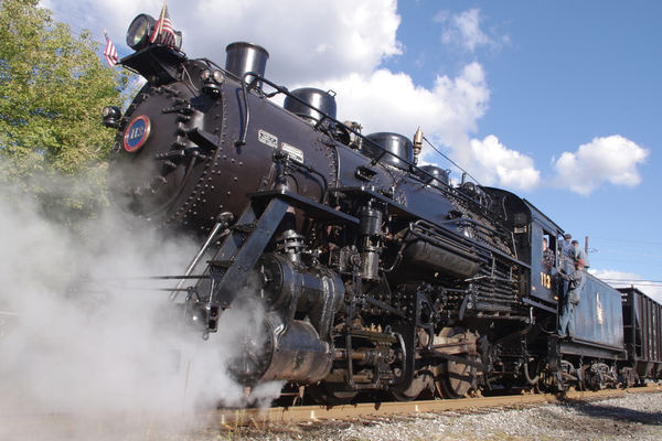 Unjacketed engine: #113 sits on display in Schuykill Haven on her first public day out.