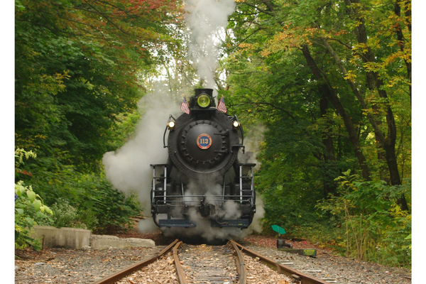 Railway Restoration Project 113's ex-Central Railroad of New Jersey 0-6-0 #113 leaving Minersville for her first public day out after restoration, Sept. 28, 2013