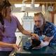 Stephanie Smerdon and Heidi Preston administer meds to Luna the cat.