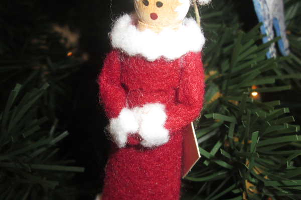 A clothespin Mrs. Claus ornament.