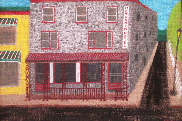A painting of the Octoraro Hotel by Jennifer Wojnar.
