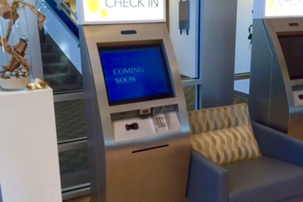 The entry check-in kiosk