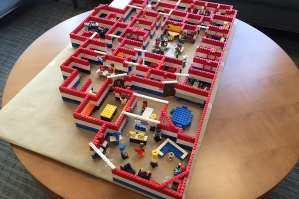 A perfectly scale Lego model of the new offices, in the doctor's lounge