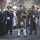 A regal procession of Fresno Police and Sheriff department honor guards, Knights of Columbus and a bagpiper open the service.