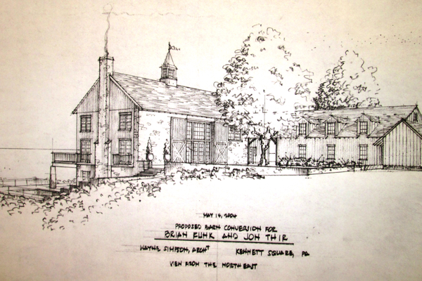 A drawing for a barn conversion is shown on one panel.