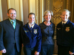 Each year three Beaver Dam FFA Members attend the Washington Leadership Conference We meet with our senators Here we are meeting with Senator Tammy Baldwin of Wisconsin  This trip is made possible by the partnership of the Beaver Dam Agribusiness Association and the Growing Tomorrows Agricultural Leaders Today grant which was 6000 over three years