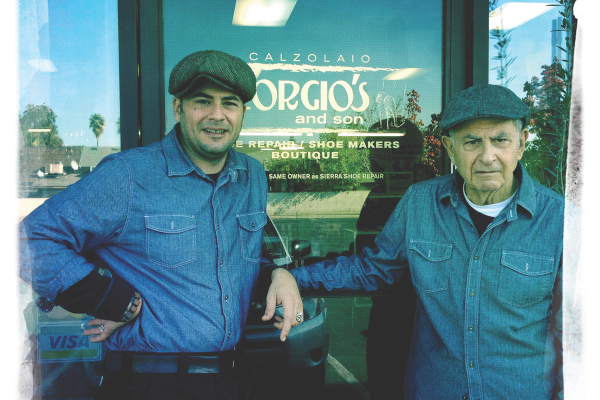 Proud papa George Sheklian (right) and son Arsen are pictured outside Georgio's and Sons' storefront.