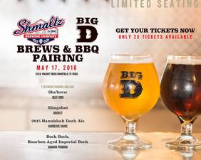 Schmaltz Brewery Beer Dinner at Big D Barbecue - start May 17 2016 0700PM