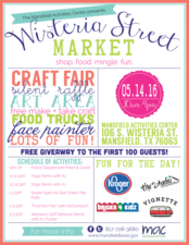 Wisteria Street Market  - start May 14 2016 1000AM