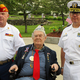 Shown here are Grand Marshal Gerald Halterman middle  with Memorial Day Committee Chairman Jim Hastings left and the Keynote Speaker Navy Captain Dennis Boyer