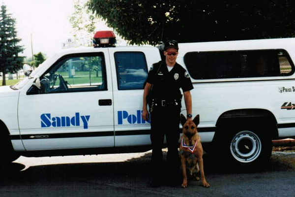 1996: Lane Cole and K-9 Briston (Photo courtesy of Lane Cole)