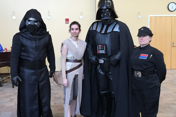 "The Fifield family dressed up like ""Star Wars"" characters and posed for pictures with children at a South Jordan Youth Council event. – Tori La Rue"
