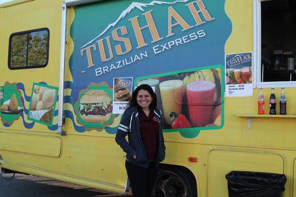 Virginia Siqueira highly recommends the grilled onion steak special from Tushar Brazilian Express.  Photo credit: Sandra Osborn