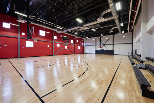 A basketball court inside the BASIS Independent school in Brooklyn, N.Y. The Brooklyn-based school was also one of the first Independent schools HighMark completed. —Troy House