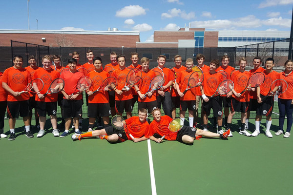 The Murray High School 2016 boys tennis team poses for a group photo. With 24 players on the roster this year, the Spartans have more than twice participants than years past. Photo courtesy of Andrea Perschon.